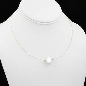 18K WHITE GOLD COIN PEARL ROUND DIAMOND ACCENT ILLUSION NECKLACE #JB39-1