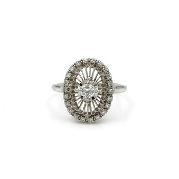 VINTAGE JABEL STARBURST DIAMOND & 18K WHITE GOLD RING, .53 CTW SIZE 7, E-72