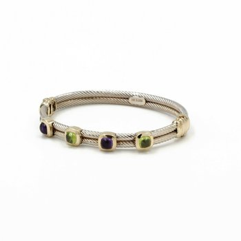 14K GOLD TWO TONE PERIDOT & AMETHYST CABOCHON DOUBLE CABLE HINGED BANGLE 1003B-1