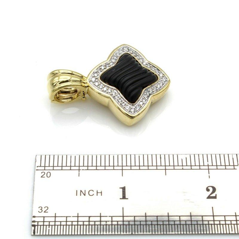David Yurman DAVID YURMAN 18K YELLOW GOLD ONYX CARVED QUATREFOIL DIAMOND PENDANT #D535-6