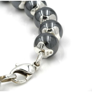 MOVADO HEMATITE BEAD NECKLACE STERLING SILVER 925 LENGTH 15 INCHES FINE 1028B-9