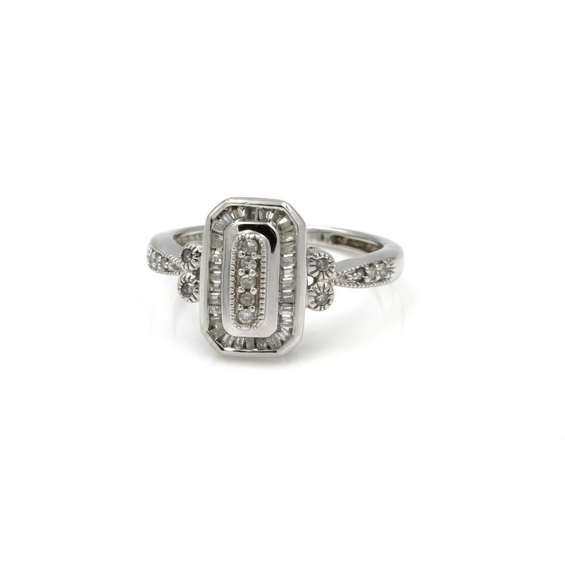 National Rarities 10K WHITE GOLD VINTAGE STYLE DIAMOND RING ROUND CENTER BAGUETTES HALO 1034B-5