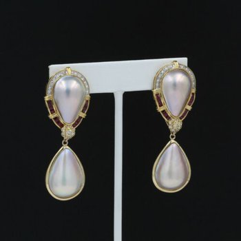LUSTROUS MABE PEARL RUBY & DIAMOND CONVERTIBLE DROP DANGLE EARRINGS #1026B-3