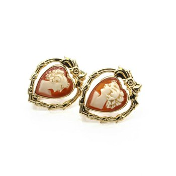 10K YELLOW GOLD VICTORIAN ERA CAMEO SCREW ON EARRINGS BOW MOTIF SHELL 1033B-9