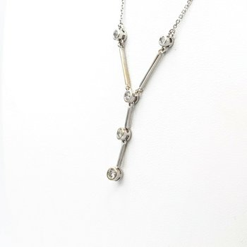 "14K WHITE GOLD VINTAGE 0.21 CTW DIAMOND STATION NECKLACE 18"" #1014B-10"