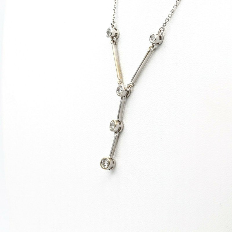 "National Rarities 14K WHITE GOLD VINTAGE 0.21 CTW DIAMOND STATION NECKLACE 18"" #1014B-10"