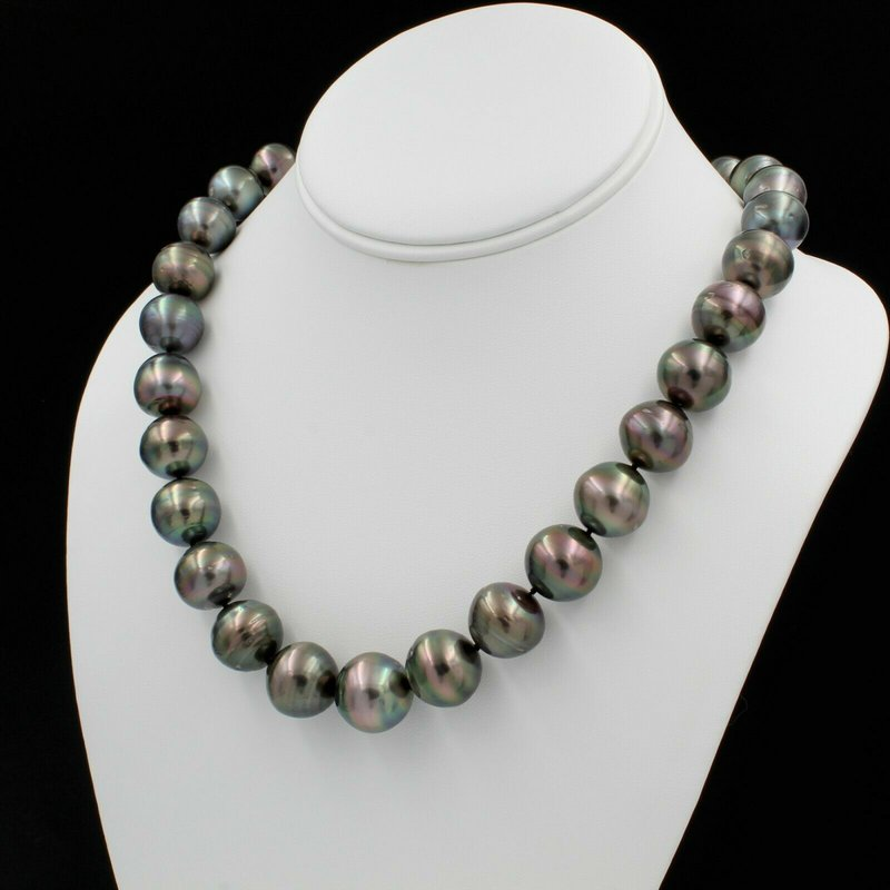 "National Rarities 14K WHITE GOLD TAHITIAN PEARL SINGLE STRAND NECKLACE 19"" BARREL CLASP NICE E-312"
