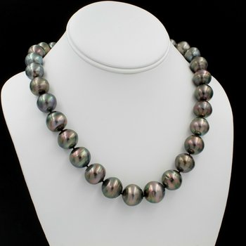 "14K WHITE GOLD TAHITIAN PEARL SINGLE STRAND NECKLACE 19"" BARREL CLASP NICE E-312"