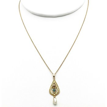 ANTIQUE VICTORIAN LAVALIER 10K YELLOW GOLD FILIGREE SEED  PEARL NECKLACE #JB63-3