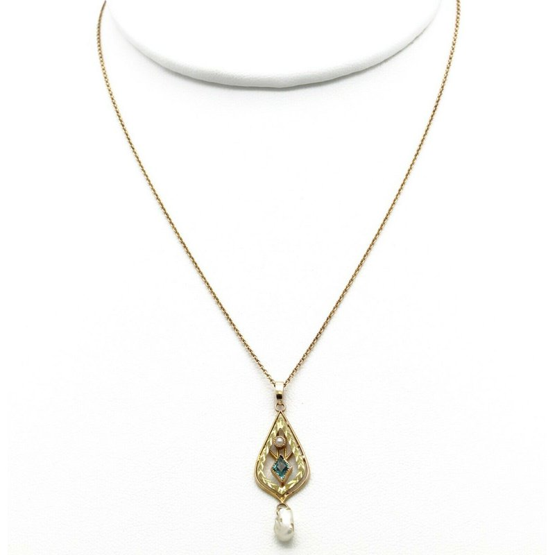Unbranded ANTIQUE VICTORIAN LAVALIER 10K YELLOW GOLD FILIGREE SEED  PEARL NECKLACE #JB63-3