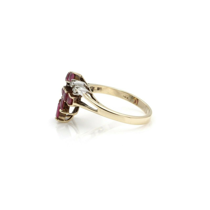 Ruby VINTAGE 14K YELLOW GOLD MARQUISE RUBY DIAMOND ACCENT RING SIZE 6.50 1 CT #JB61-2