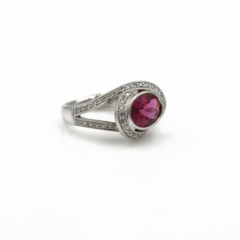 SIMON G 18K WHITE GOLD 2.1 CTW OVAL PINK TOURMALINE ROUND DIAMOND RING #E-172