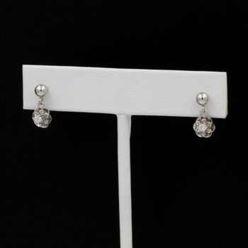 14K WHITE GOLD 0.20 CTW DIAMOND BUTTERCUP DROP/DANGLE EARRINGS #1036B-10