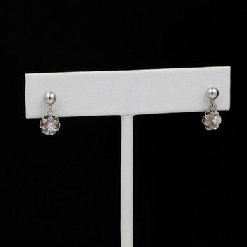 14K WHITE GOLD 0.20 CTW DIAMOND BUTTERCUP DROP/DANGLE EARRINGS #1036B-10