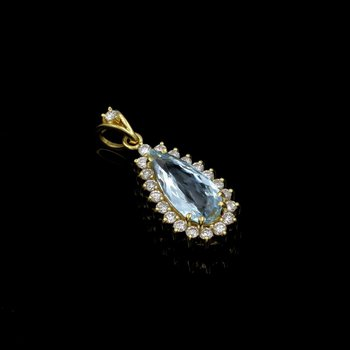 18K GOLD 2.84 CTW ELONGATED PEAR AQUAMARINE & ROUND DIAMOND HALO PENDANT #E-202