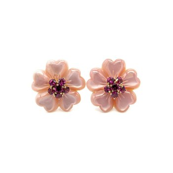 14K YELLOW GOLD AMETHYST & MOTHER OF PEARL PINK CARVED FLOWER EARRINGS 1033B-8