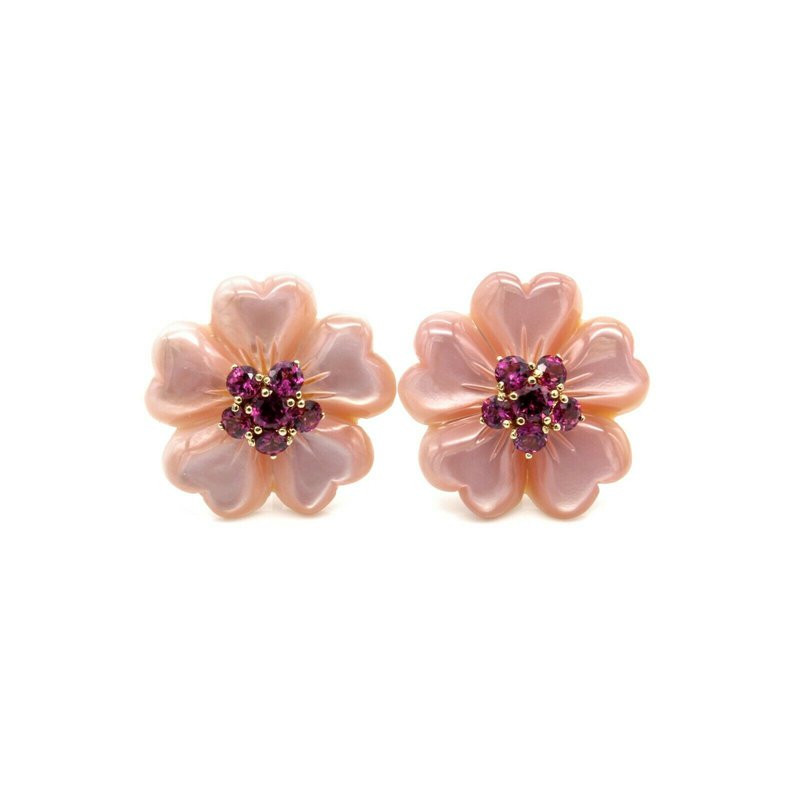 National Rarities 14K YELLOW GOLD AMETHYST & MOTHER OF PEARL PINK CARVED FLOWER EARRINGS 1033B-8
