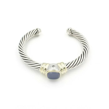 DAVID YURMAN NOBLESSE CLASSIC CABLE CUFF STERLING 14K GOLD BLUE CHALCEDONY D13-4