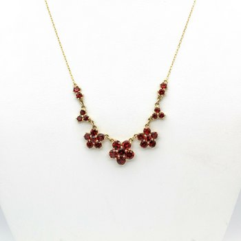 14K GOLD & 9.86 CT MOZAMBIQUE GARNET GRADUATING FLOWER CLUSTER NECKLACE 1021B-10