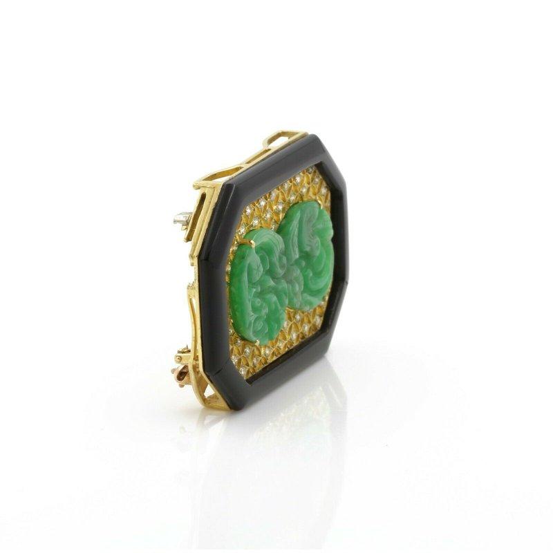 National Rarities VINTAGE 18K GOLD CARVED JADEITE JADE, ONYX AND DIAMOND PENDANT/PIN BROOCH E832-3