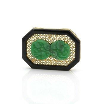 VINTAGE 18K GOLD CARVED JADEITE JADE, ONYX AND DIAMOND PENDANT/PIN BROOCH E832-3