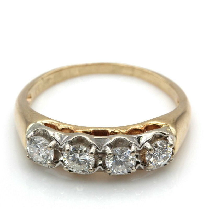 National Rarities 14K YELLOW GOLD .45 CTW ROUND WHITE DIAMOND QUARTER ETERNITY RING SIZE 5 #JB77-2