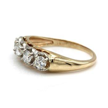 14K YELLOW GOLD .45 CTW ROUND WHITE DIAMOND QUARTER ETERNITY RING SIZE 5 #JB77-2