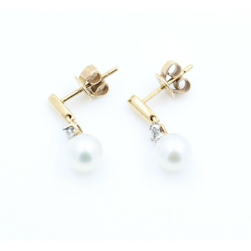 Pearl 10K SOLID GOLD CULTURED AKOYA PEARL & DIAMOND DROP EARRINGS #J7-2