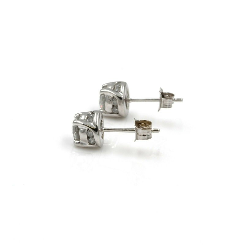 National Rarities 14K WHITE GOLD 0.91 CTW ROUND DIAMOND STUD VINTAGE EARRINGS #1001B-6