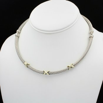 DAVID YURMAN STERLING SILVER & 14K YELLOW GOLD 3 X CABLE CHOKER NECKLACE #D15-9
