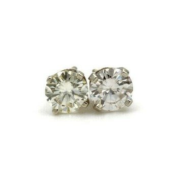 14K WHITE GOLD .77 CTW ROUND DIAMOND STUD EARRINGS CLASSIC #983B-3