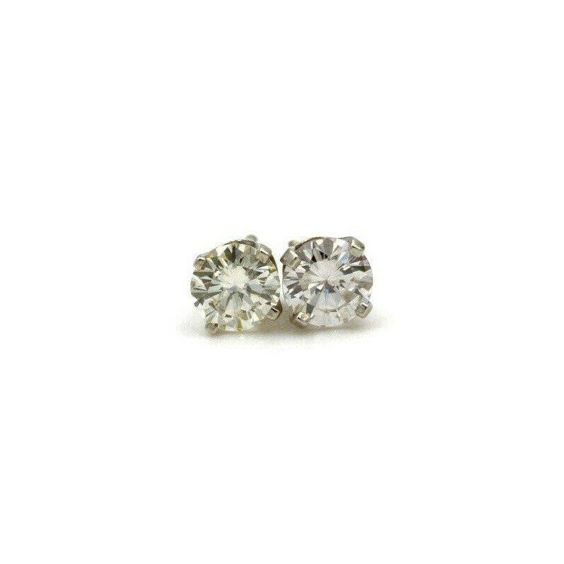 National Rarities 14K WHITE GOLD .77 CTW ROUND DIAMOND STUD EARRINGS CLASSIC #983B-3