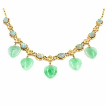14K YELLOW GOLD 18 1/4 INCH JADEITE HEART AND OPAL OVAL NECKLACE NO RES #J2072-1