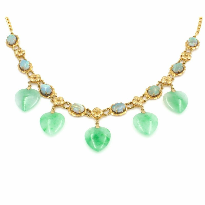 National Rarities 14K YELLOW GOLD 18 1/4 INCH JADEITE HEART AND OPAL OVAL NECKLACE NO RES #J2072-1