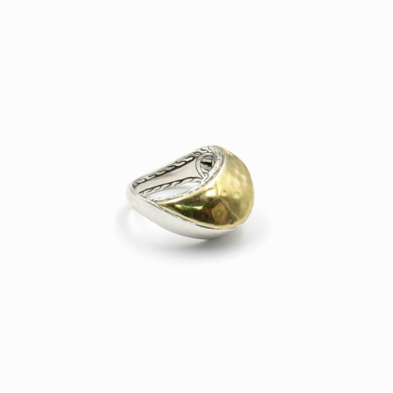 John Hardy JOHN HARDY PALU STERLING SILVER 22K YELLOW GOLD HAMMERED RING SIZE 6.75 #D6-7
