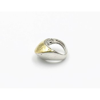 JOHN HARDY PALU STERLING SILVER 22K YELLOW GOLD HAMMERED RING SIZE 6.75 #D6-7
