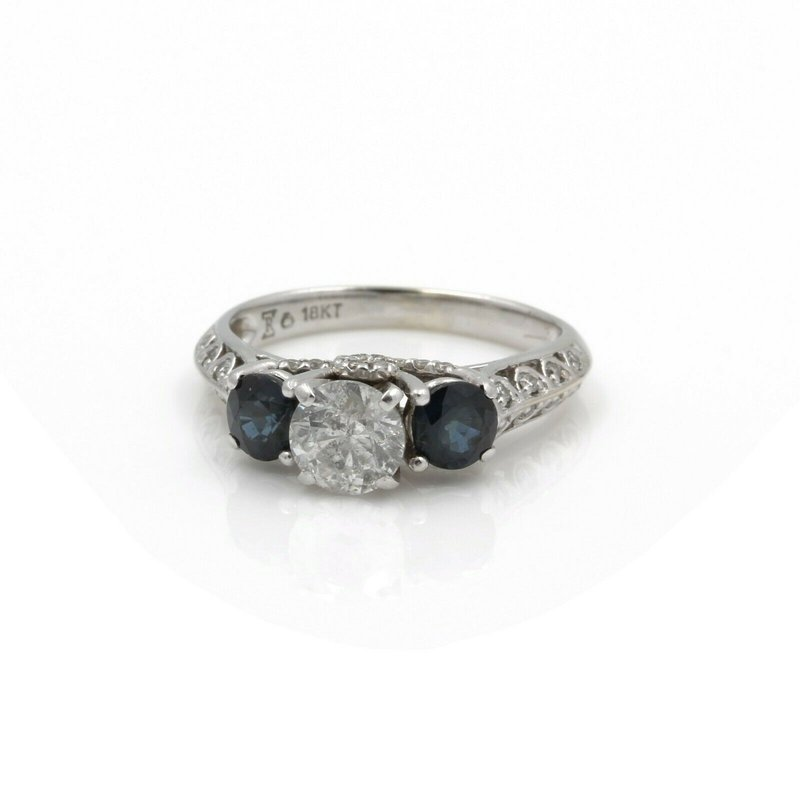 Handmade 18K WHITE GOLD THREE STONE DIAMOND & BLUE SAPPHIRE ENGAGEMENT RING #J3292-1