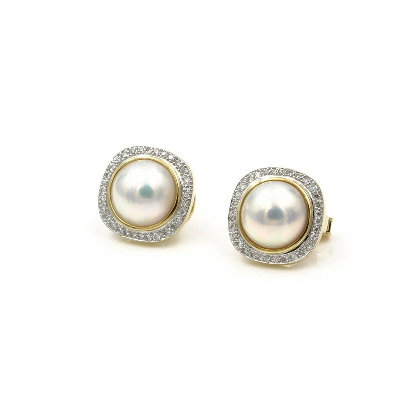 National Rarities 18K YELLOW GOLD MABE PEARL .62 CTW DIAMOND OMEGA CLIP BACK EARRINGS NICE #E-183
