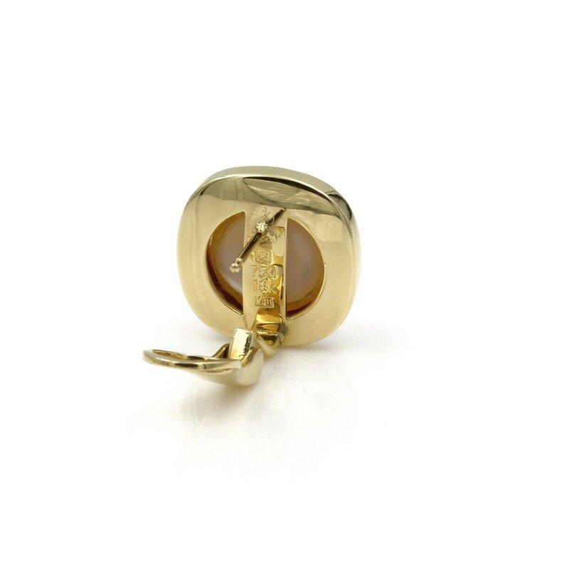 National Rarities 18K YELLOW GOLD MABE PEARL .62 CTW DIAMOND OMEGA CLIP BACK EARRINGS NICE #E-183