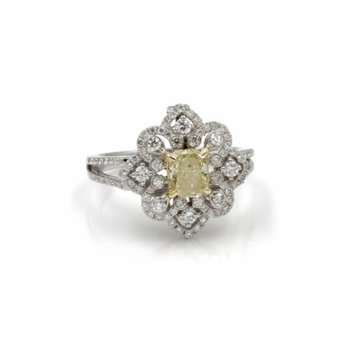 STUNNING LIGHT YELLOW DIAMOND CONVERTIBLE RING AND PENDANT RADIANT CUT #1015B-3