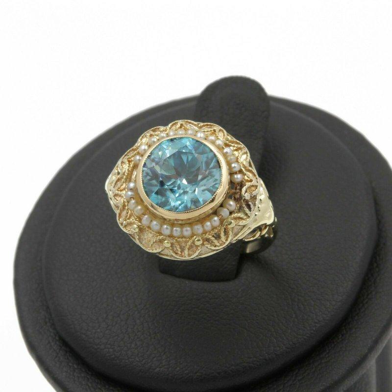 National Rarities VICTORIAN 14K YELLOW GOLD FILIGREE 3.30 CT ZIRCON SEED PEARL RING SIZE 4 J2974-1