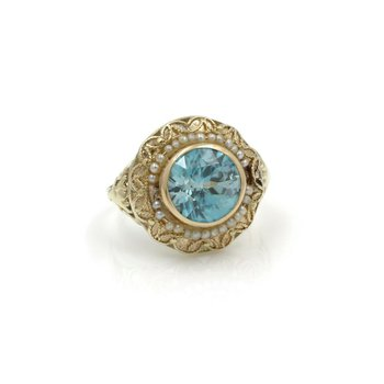VICTORIAN 14K YELLOW GOLD FILIGREE 3.30 CT ZIRCON SEED PEARL RING SIZE 4 J2974-1