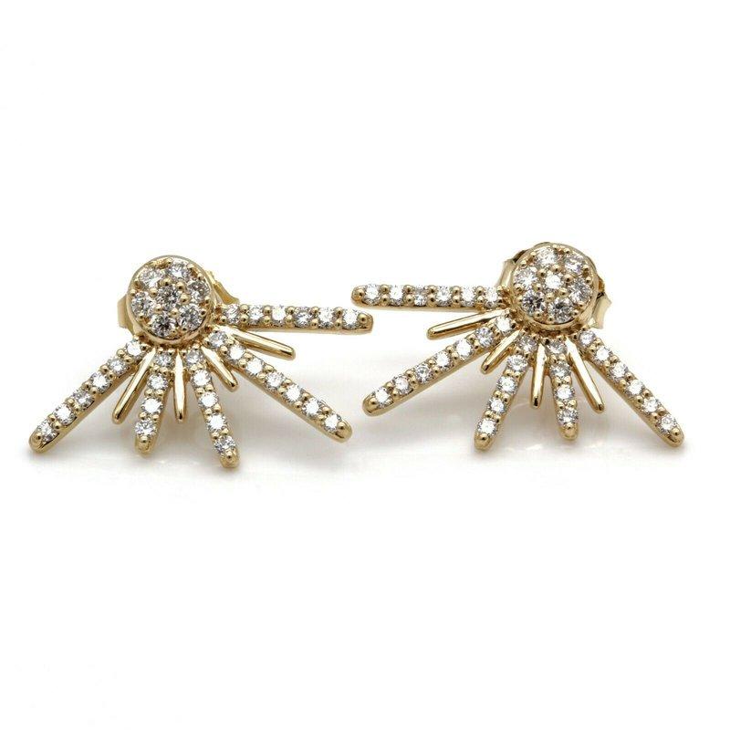 National Rarities 14K SOLID GOLD 0.70 CTW DIAMOND STUD EARRINGS W/ UNIQUE DAIMOND JACKETS #JB35-5