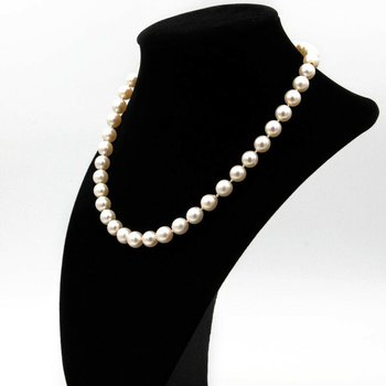 "18K WHITE GOLD BEAUTIFUL 8-8.5MM PEARL & DIAMOND CLASP NECKLACE 16"" #958B-1"