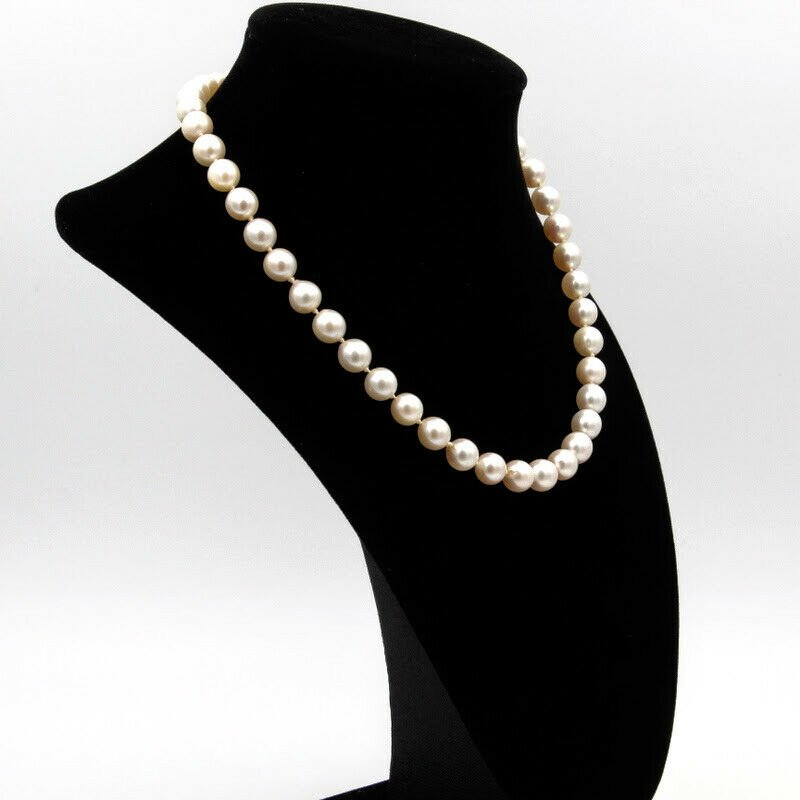 "National Rarities 18K WHITE GOLD BEAUTIFUL 8-8.5MM PEARL & DIAMOND CLASP NECKLACE 16"" #958B-1"