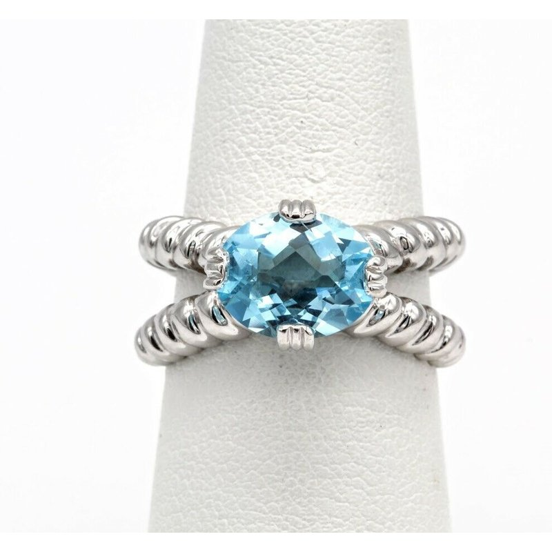 National Rarities 14K  BLUE TOPAZ FASHIONABLE COCKTAIL RING CABLE WRAP DESIGN WHITE GOLD #1025B-7