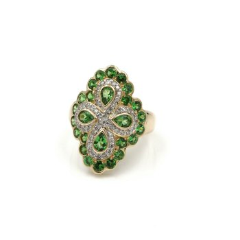 14K SOLID GOLD TSAVORITE GARNET & DIAMOND SHIELD COCKTAIL RING SIZE 6 #1038B-5
