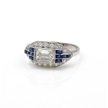 ART DECO PLATINUM 1.41 CTW EMERALD CUT ROUND DIAMOND FRENCH SAPPHIRE RING E-319