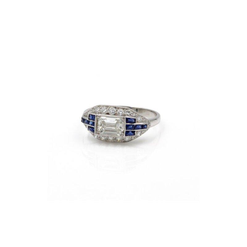 National Rarities ART DECO PLATINUM 1.41 CTW EMERALD CUT ROUND DIAMOND FRENCH SAPPHIRE RING E-319