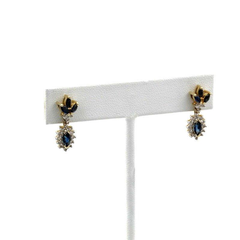 National Rarities 14K WHITE GOLD 1.76 CTW MARQUISE BLUE SAPPHIRE DIAMOND DROP EARRINGS #957B-1